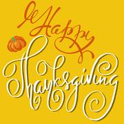 Happy Thanksgiving handwritten lettering text. Handmade vector calligraphy on Stock Illustration