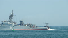 Russian minesweeper on the high seas Stock Footage