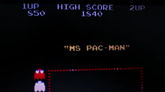 Ms. Pac Man - View of upper screen with demo and game play Stock Footage