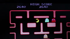Ms. Pac Man Game Play - Medium view upper screen with scores Stock Footage