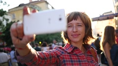 Bright young woman shoot take selfie photo picture by smart phone outdoors Stock Footage