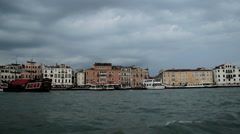 Venice view from water taxi on Canal Grande Italy Stock Footage