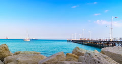 Beach Coastline in Limassol Cyprus Time Lapse. Stock Footage