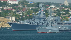 Russian military ships Stock Footage