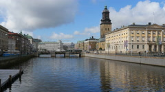 Norra Hamngatan in Gothenburg.  Trams pass Stock Footage