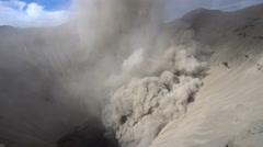 Smoking crater of Bromo volcano Stock Footage