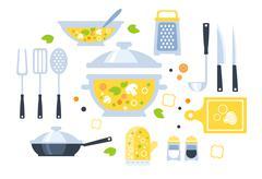 Soup Preparation Set Of Utensils Illustration Stock Illustration