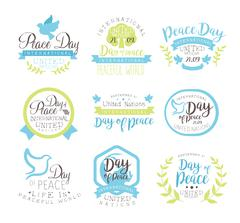 World Peace Day Set Of Label Designs In Pastel Colors Stock Illustration