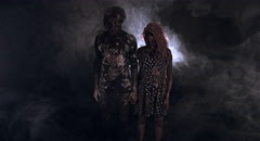 Two burnt zombie scare. Stock Footage