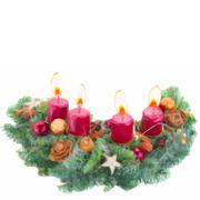 Advent wreath with burning candles Stock Illustration
