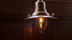 Vintage lamp in cafe Stock Footage
