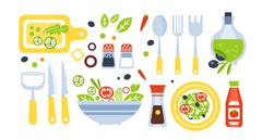 Salad Preparation Set Of Utensils Illustration Stock Illustration