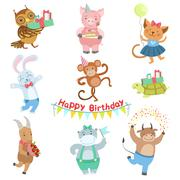 Cute Animal Characters Attending Birthday Party Celebration Set Stock Illustration