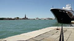 Big luxury yacht rope in Venice Italy Stock Footage