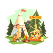 Two Guys Enjoying Camping In Forest Stock Illustration