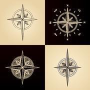 Hand drawn compass wind rose symbol Piirros