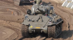 Tank Event 2016 SOEST, the Netherlands, AUGUST 27-28: M4 SHERMAN from WO II demo Stock Footage