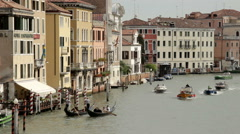Venice Italy Canal Grande view over water with boats and gondoliers Stock Footage