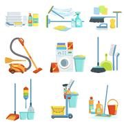 Cleaning Household Equipment Sets Stock Illustration