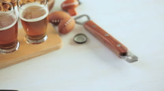 Draft beer with snacks at the football game party. Stock Footage