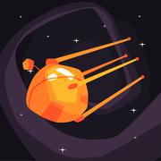 Old-school orange Satellite Flying On Orbit Stock Illustration