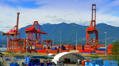 4K Freight Shipping Container Port, Sea Loading Industrial Cranes, Export Trade Stock Footage