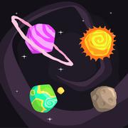 Solar System Planets Including Sun, Earth, Jupiter And Pluto Stock Illustration