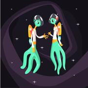 Two Green Extraterrestrial Beings In Space Suits Stock Illustration