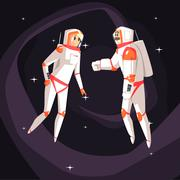Two Astronauts In Space Suits Chatting Stock Illustration