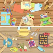 Children Craft And Cooking Class Two Illustrations With Only Hands Visible From Stock Illustration