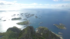 Lofoten Henningsvær islands arial reveal Stock Footage