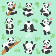 Cute Panda Character In Different Situations Set Stock Illustration