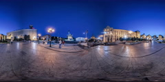 360Vr Video . Independence Square in Kiev Night Stock Footage