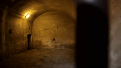 Ancient prison bars old cell Stock Footage