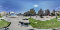 360Vr Video People Walk by Independence Square Kiev Fountain is Covered Old Stock Footage
