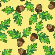 Seamless pattern with acorns and leafs Stock Illustration