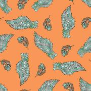 Seamless pattern with angel wings. Stock Illustration