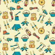 Camping holiday seamless vector pattern Stock Illustration