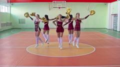 Group of Cheerleaders Dancing in Circle Stock Footage