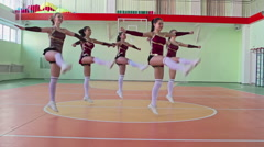 All- Girls Cheerleading Team Performing Stock Footage