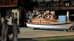 Venice old boathouse gondolier repair famous Stock Footage
