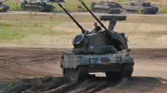 """Tank Event 2016 SOEST, the Netherlands, AUGUST 27-28:  PRTL """"CHEETAH"""" tank demo Stock Footage"""