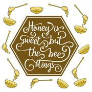 Hiney is sweet but the bee stings. Stock Illustration