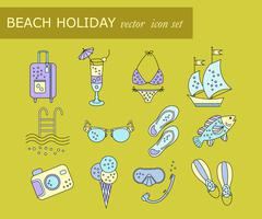 Beach holiday vector line icons. Stock Illustration