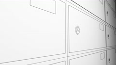 Sketch animation. Row of safe deposit boxes and inserted key with tag. 8K Stock Footage