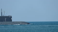 Modern Russian missile submarine at sea Stock Footage