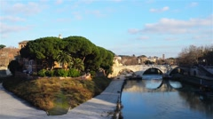 Tiber Island in Rome, Italy Stock Footage