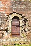 Arched entrance with old wooden door in aged brick wall Stock Photos