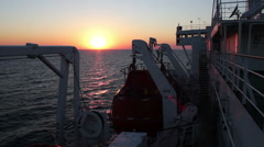 Big Cargo Ferry and Sunset on the Sea Stock Footage