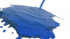 Blue liquid flow covers a surface in slow motion. sirup Stock Footage